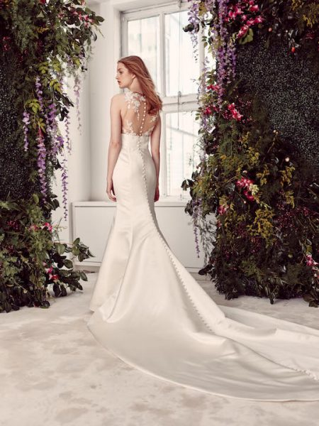 Sleeveless Satin Fit & Flare Wedding Dress With Lace Bodice by Alyne by Rita Vinieris - Image 2