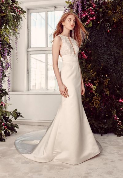 Sleeveless Satin Fit & Flare Wedding Dress With Lace Bodice by Alyne by Rita Vinieris