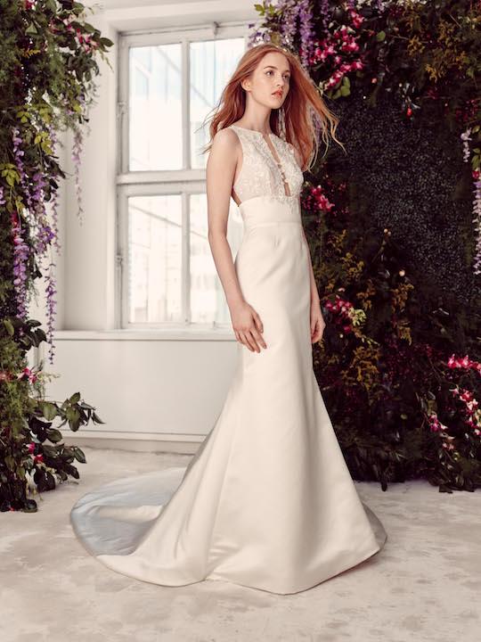 Sleeveless Satin Fit & Flare Wedding Dress With Lace Bodice by Alyne by Rita Vinieris - Image 1