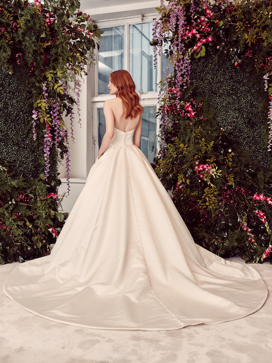 Strapless Ball Gown Wedding Dress With Buttons Down The
