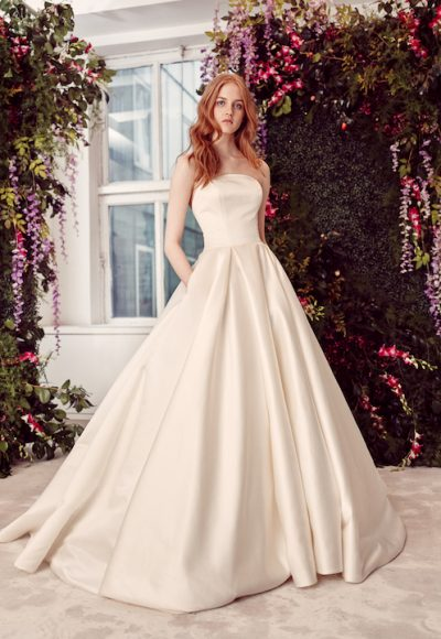 Strapless Ball Gown Wedding Dress With Buttons Down The Back by Alyne by Rita Vinieris