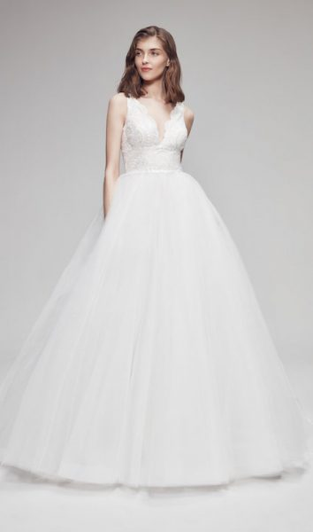 Sleeveless V-Neck Ball Gown Wedding Dress With Glitter Skirt by Anne Barge - Image 1