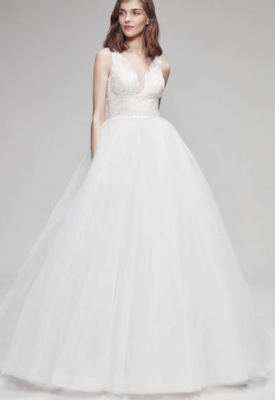 Sleeveless V-Neck Ball Gown Wedding Dress With Glitter Skirt by Anne Barge