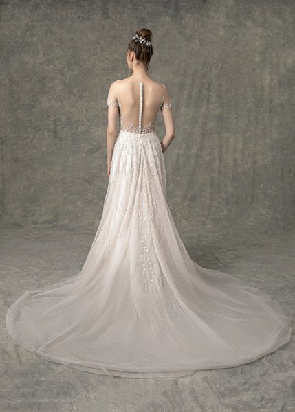 Short Illusion Sleeve Sweetheart A-line Wedding Dress With Beading Throughout by Enaura Bridal - Image 2