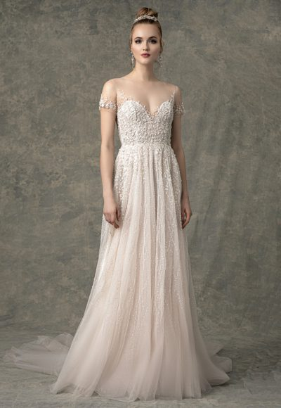 Short Illusion Sleeve Sweetheart A-line Wedding Dress With Beading Throughout by Enaura Bridal
