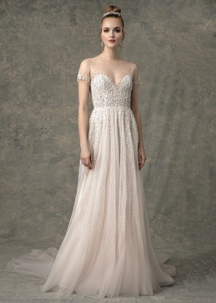 Short Illusion Sleeve Sweetheart A-line Wedding Dress With Beading Throughout by Enaura Bridal - Image 1