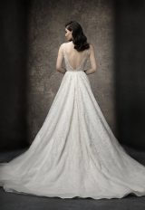 Sleeveless A-line Gown Wedding Dress With Deep V Neckline by Enaura Bridal - Image 2