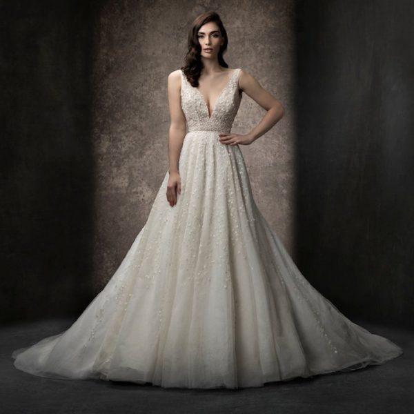 Sleeveless A-line Gown Wedding Dress With Deep V Neckline by Enaura Bridal - Image 1
