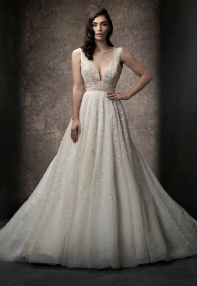 Sleeveless A-line Gown Wedding Dress With Deep V Neckline by Enaura Bridal