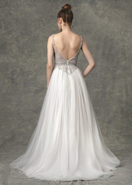 Sleeveless Sweetheart A-line Wedding Dress With Beaded Details by Enaura Bridal - Image 2