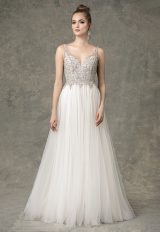 Sleeveless Sweetheart A-line Wedding Dress With Beaded Details by Enaura Bridal - Image 1