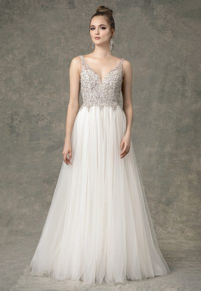 Sleeveless Sweetheart A-line Wedding Dress With Beaded Details by Enaura Bridal