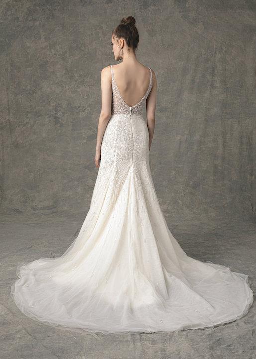 Sleeveless V-Neck Fit And Flare Beaded Wedding Dress by Enaura Bridal - Image 2