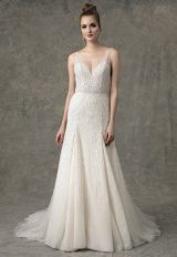 Sleeveless V-Neck Fit And Flare Beaded Wedding Dress by Enaura Bridal - Image 1