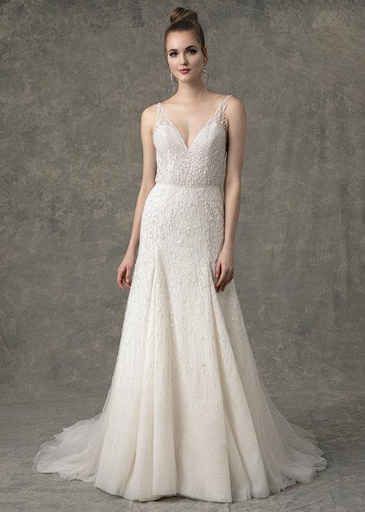 Sleeveless V-Neck Fit And Flare Beaded Wedding Dress by Enaura Bridal - Image 1