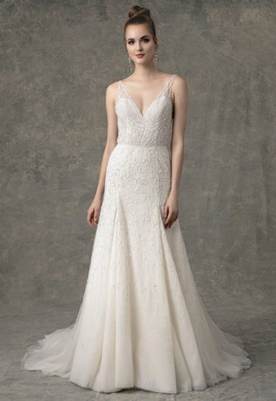 Sleeveless V-Neck Fit And Flare Beaded Wedding Dress by Enaura Bridal