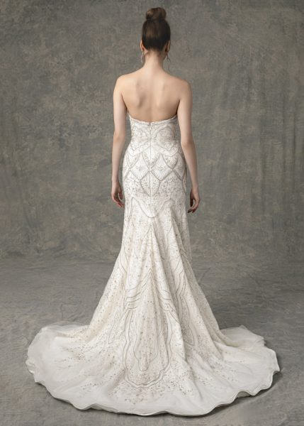 Strapless Sweetheart Fit And Flare Wedding Dress With Beading Throughout by Enaura Bridal - Image 2