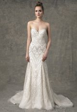 Strapless Sweetheart Fit And Flare Wedding Dress With Beading Throughout by Enaura Bridal - Image 1