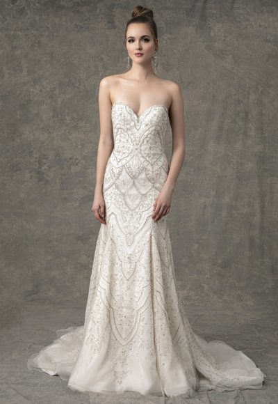 Strapless Sweetheart Fit And Flare Wedding Dress With Beading Throughout by Enaura Bridal