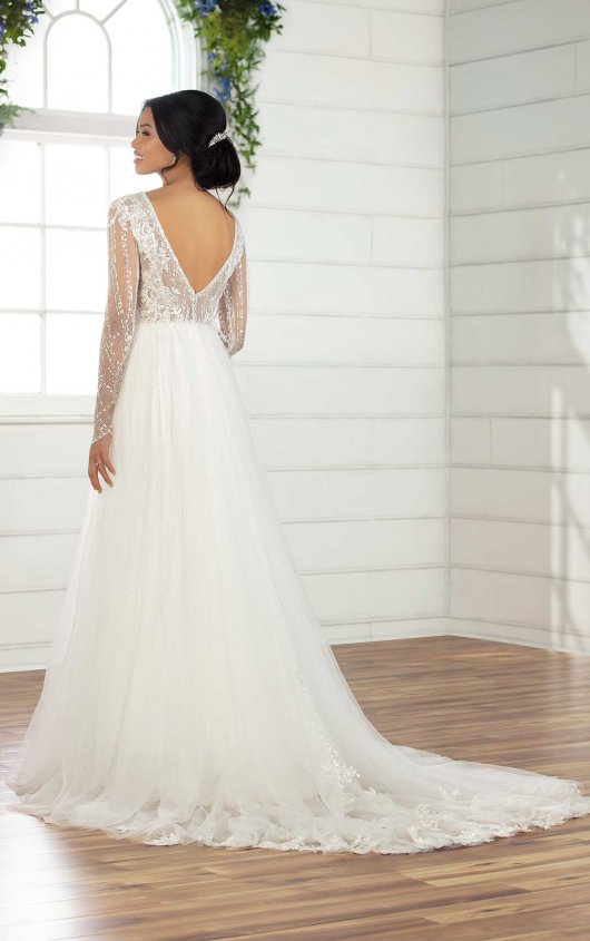 V-Neck Long Sleeve A-Line Wedding Dress With Shimmer Bodice And Sleeves by Essense of Australia - Image 2