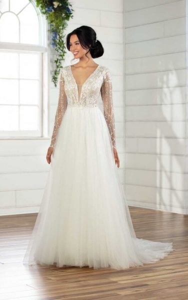 V-Neck Long Sleeve A-Line Wedding Dress With Shimmer Bodice And Sleeves by Essense of Australia - Image 1