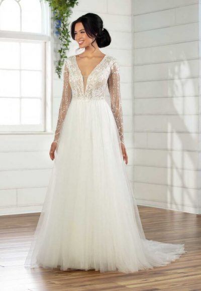 V-Neck Long Sleeve A-Line Wedding Dress With Shimmer Bodice And Sleeves by Essense of Australia