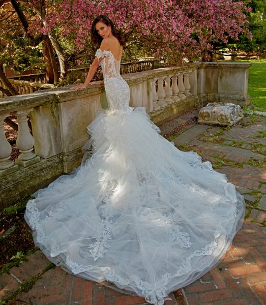 Off The Shoulder V-Neck Fit And Flare Wedding Dress With Ruffled Skirt by Eve of Milady - Image 2