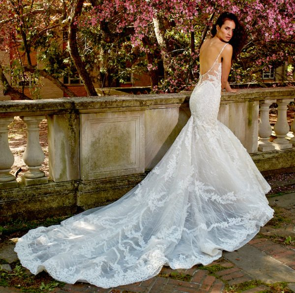 Sleeveless Beasded And Embroidered V-Neck Fit And Flare Wedding Dress by Eve of Milady - Image 2
