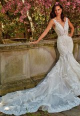 Sleeveless Beasded And Embroidered V-Neck Fit And Flare Wedding Dress by Eve of Milady - Image 1