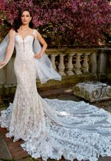 Sleeveless Sweetheart Fit And Flare Wedding Dress With Detailed Straps by Eve of Milady - Image 1