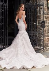 Spaghetti Strapless Fit And Flare Wedding Dress With Beaded Lace by Eve of Milady - Image 2