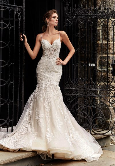 Spaghetti Strapless Fit And Flare Wedding Dress With Beaded Lace by Eve of Milady