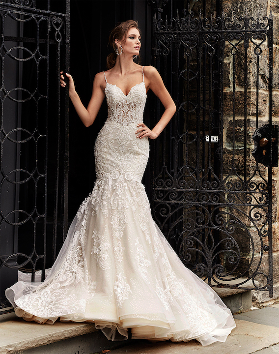 Spaghetti Strapless Fit And Flare Wedding Dress With Beaded Lace by Eve of Milady - Image 1