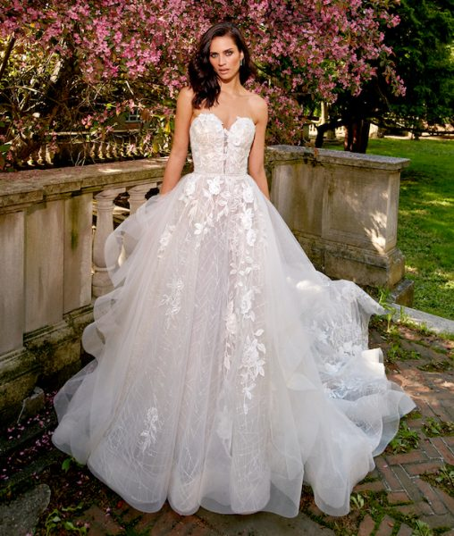 Strapless Sweetheart A-Line Wedding Dress With Ruffle Skirt by Eve of Milady - Image 1