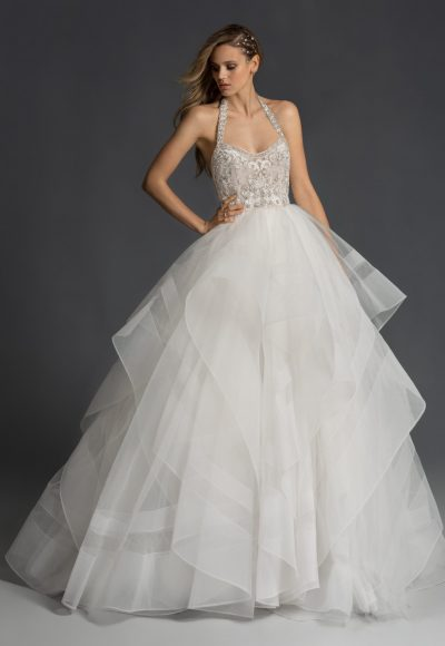Halter Neckline Ballgown Wedding Dress With Beaded Bodice And Straps by Hayley Paige