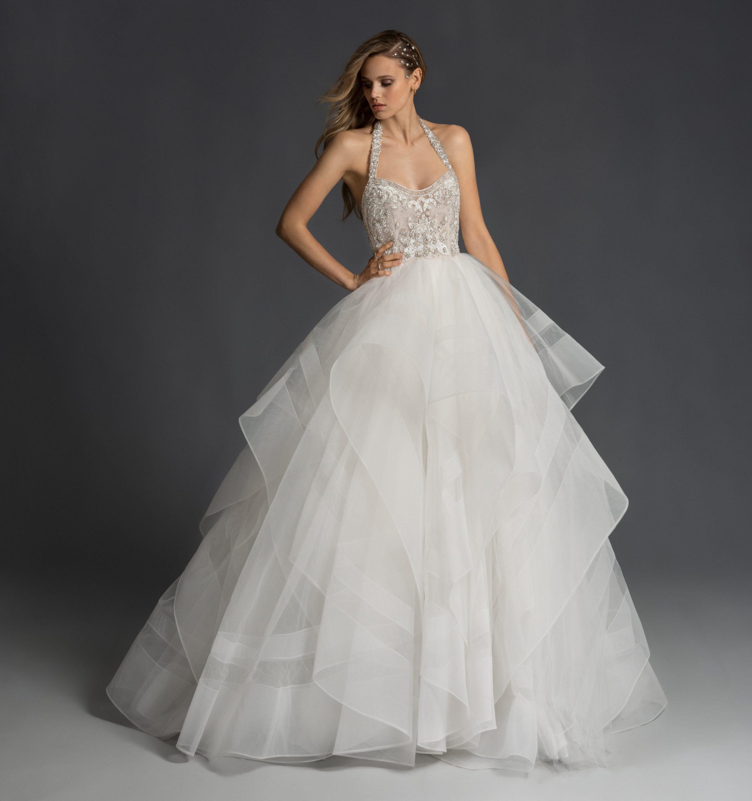 Halter Neckline Ballgown Wedding Dress With Beaded Bodice And Straps Kleinfeld Bridal