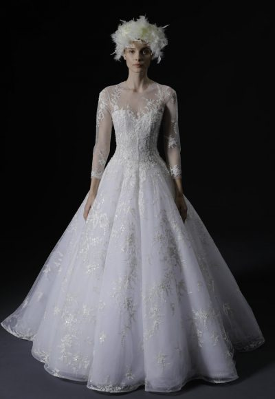 Illusion Long Sleeve Sweetheart Ballgown Wedding Dress With Embroidery by Isabelle Armstrong