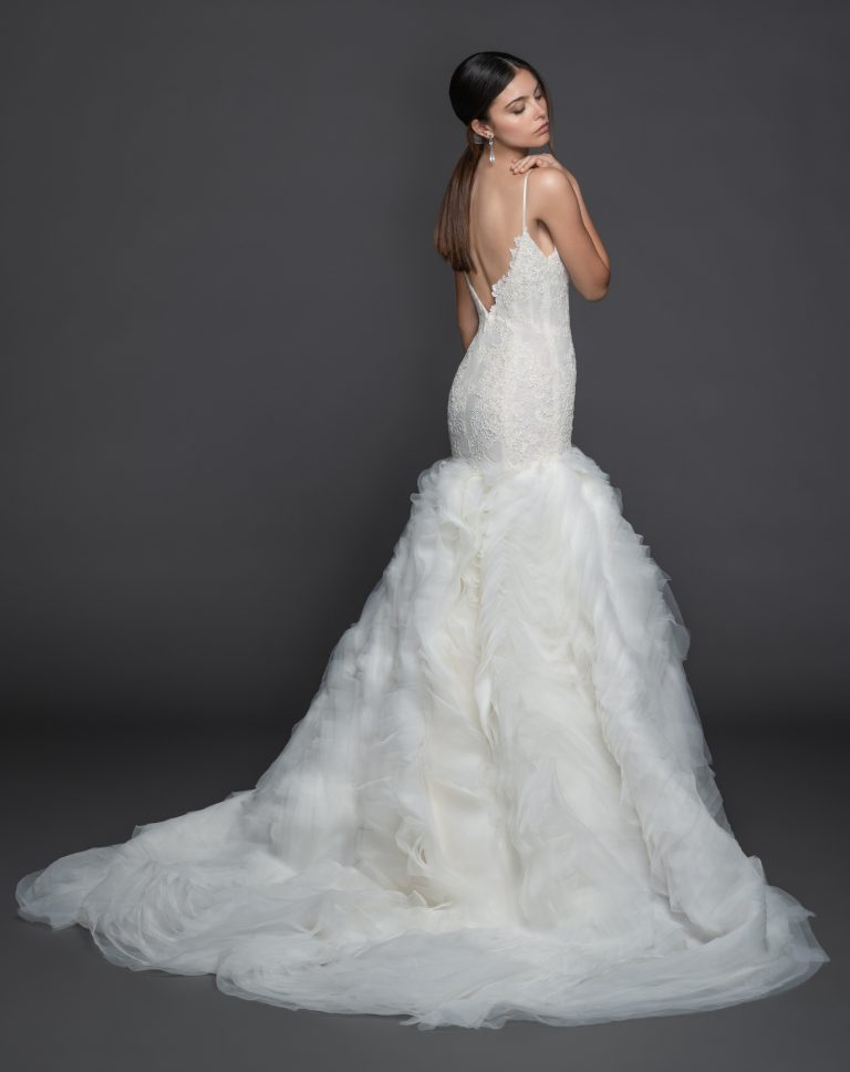 Spaghetti Strap V-Neck Fit And Flare Wedding Dress With Layered Organza Skirt by Lazaro - Image 2