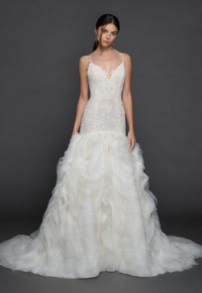 Spaghetti Strap V-Neck Fit And Flare Wedding Dress With Layered Organza Skirt by Lazaro