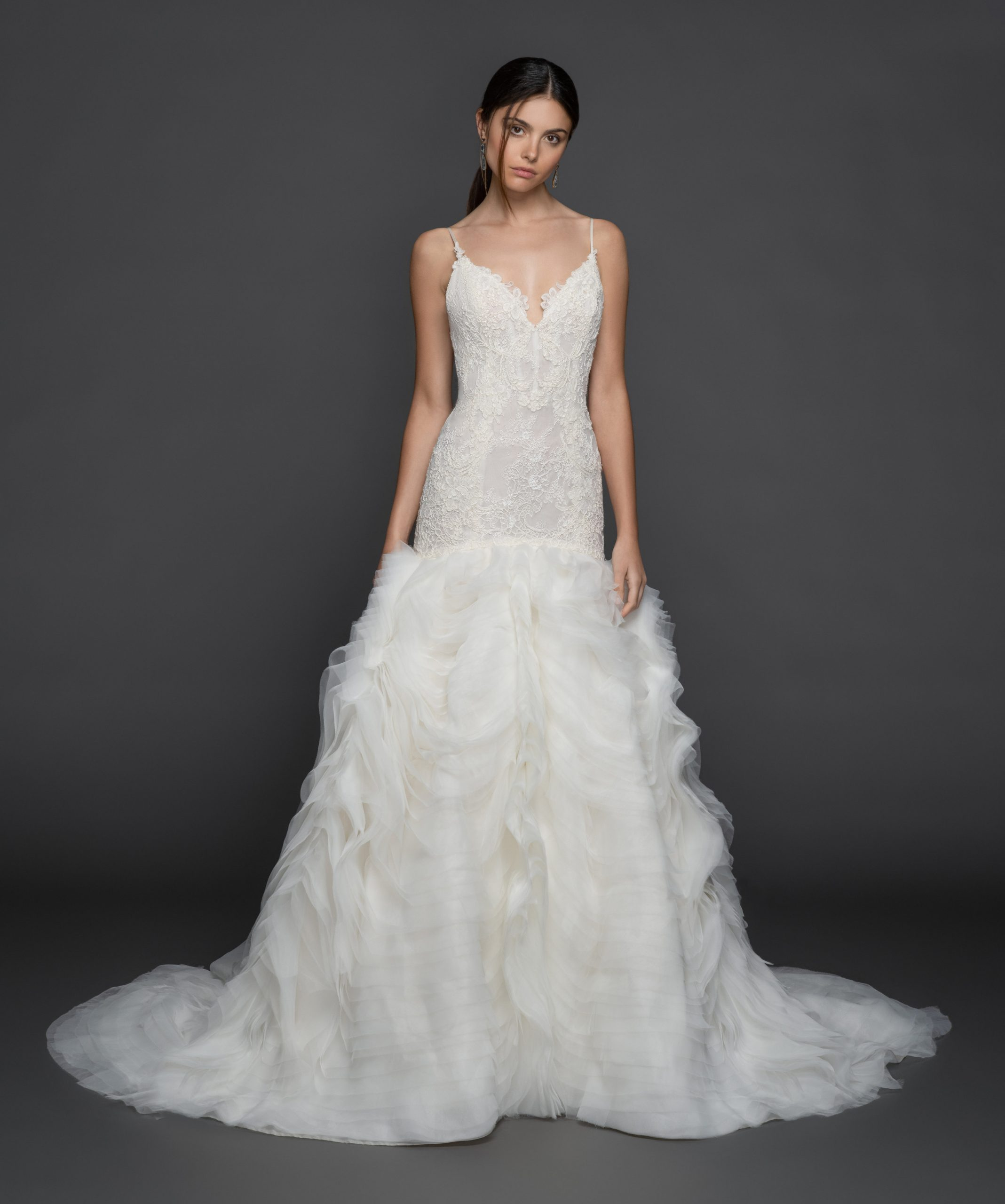 Spaghetti Strap V-Neck Fit And Flare Wedding Dress With Layered Organza Skirt by Lazaro - Image 1