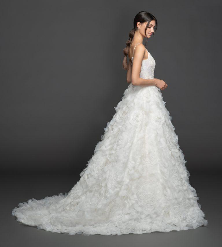 Spaghetti Strap Sweetheart A-line Wedding Dress Wth Gardenia Skirt by Lazaro - Image 2