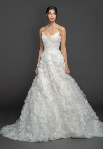 Spaghetti Strap Sweetheart A-line Wedding Dress Wth Gardenia Skirt by Lazaro
