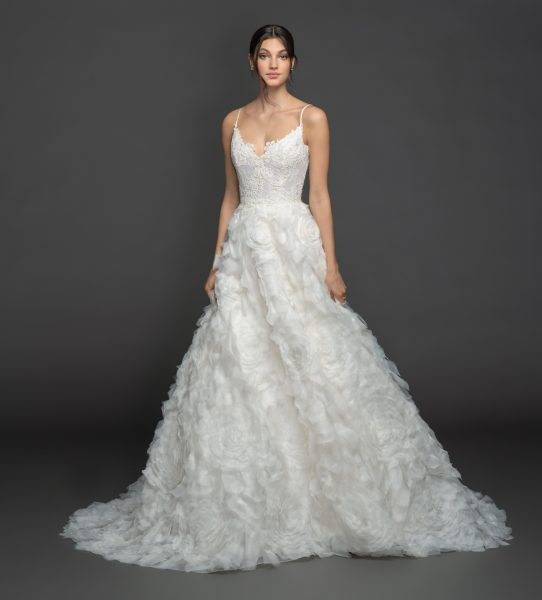 Spaghetti Strap Sweetheart A-line Wedding Dress Wth Gardenia Skirt by Lazaro - Image 1
