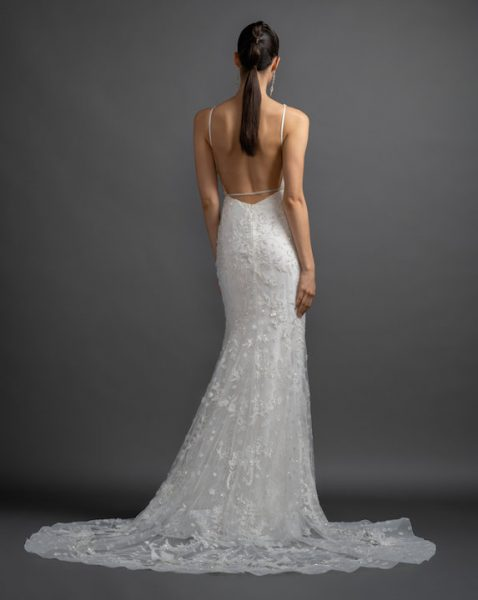 V-Neck Strapless Beaded And Embroidered Sheath Wedding Dress by Lazaro - Image 2