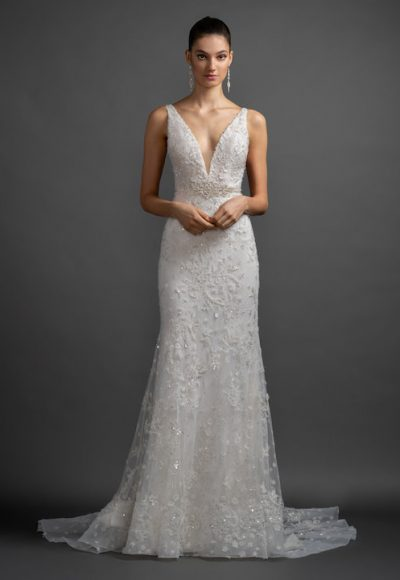 V-Neck Strapless Beaded And Embroidered Sheath Wedding Dress by Lazaro
