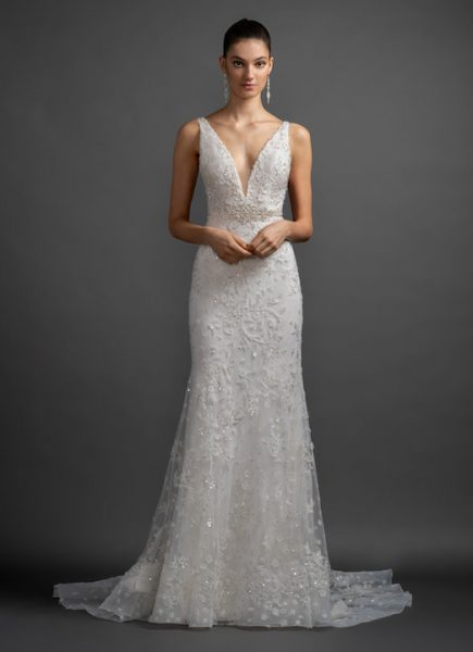 V-Neck Strapless Beaded And Embroidered Sheath Wedding Dress by Lazaro - Image 1