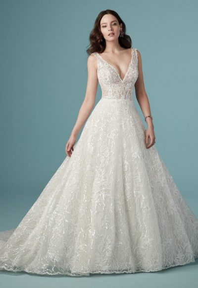 Sleeveless V-Neck A-Line Lace Wedding Dress by Maggie Sottero