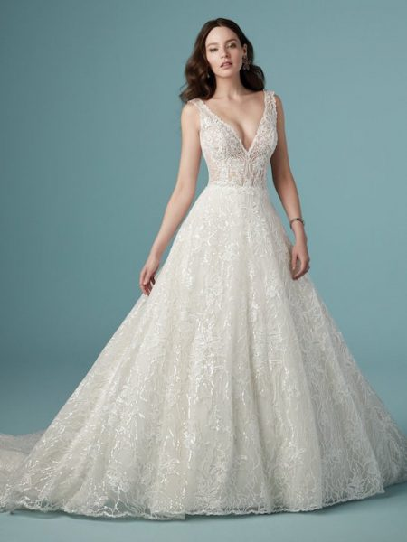 Sleeveless V-Neck A-Line Lace Wedding Dress by Maggie Sottero - Image 1