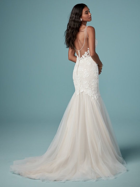 Sleeveless V-Neck Mermaid Wedding Dress With Tulle Skirt by Maggie Sottero - Image 2