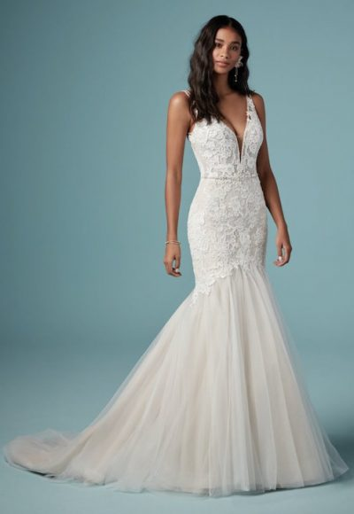 Sleeveless V-Neck Mermaid Wedding Dress With Tulle Skirt by Maggie Sottero